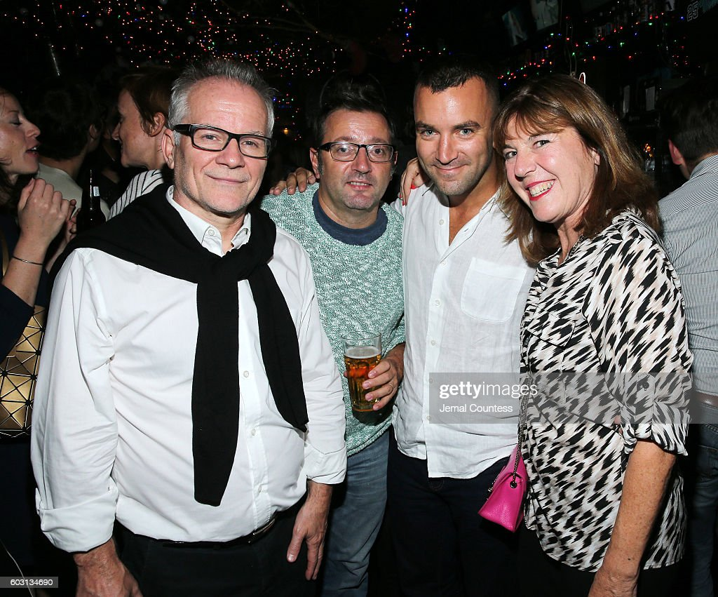 Director of the Cannes Film Festival Thierry Fremaux, Managing Director of the Wild Bunch Vincent Maraval, producer Martin Marquet and Delegate of Artistic Direction at the Locarno Film Festival Nadia Dresti attend Locarno's Late Drink At TIFF at Bovine on September 11, 2016 in Toronto, Canada.