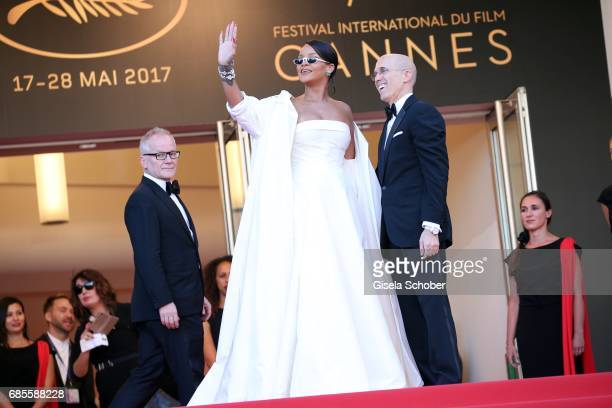Director of the Cannes Film Festival Thierry Fremaux Rihanna and Jeffrey Katzenberg attend the 'Okja' screening during the 70th annual Cannes Film...