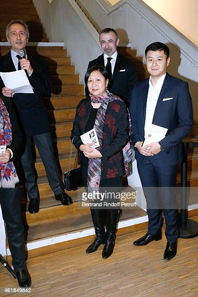 Director of the Centre Pompidou Museum of Modern Art Bernard Blistene Widow of Chen Zen Xu Min her son Chen B and President of Centre Pompidou Alain...