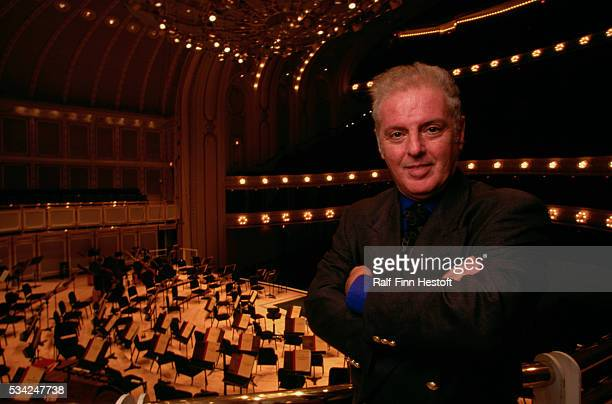 Director of the Chicago Symphony Orchestra Daniel Barenboim poses above the orchestra pit of a Chicago concert hall