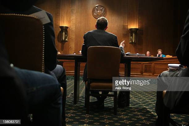 Director of the Congressional Budget Office Douglas Elmendorf testifies during a hearing before the Senate Budget Committee February 2 2012 on...