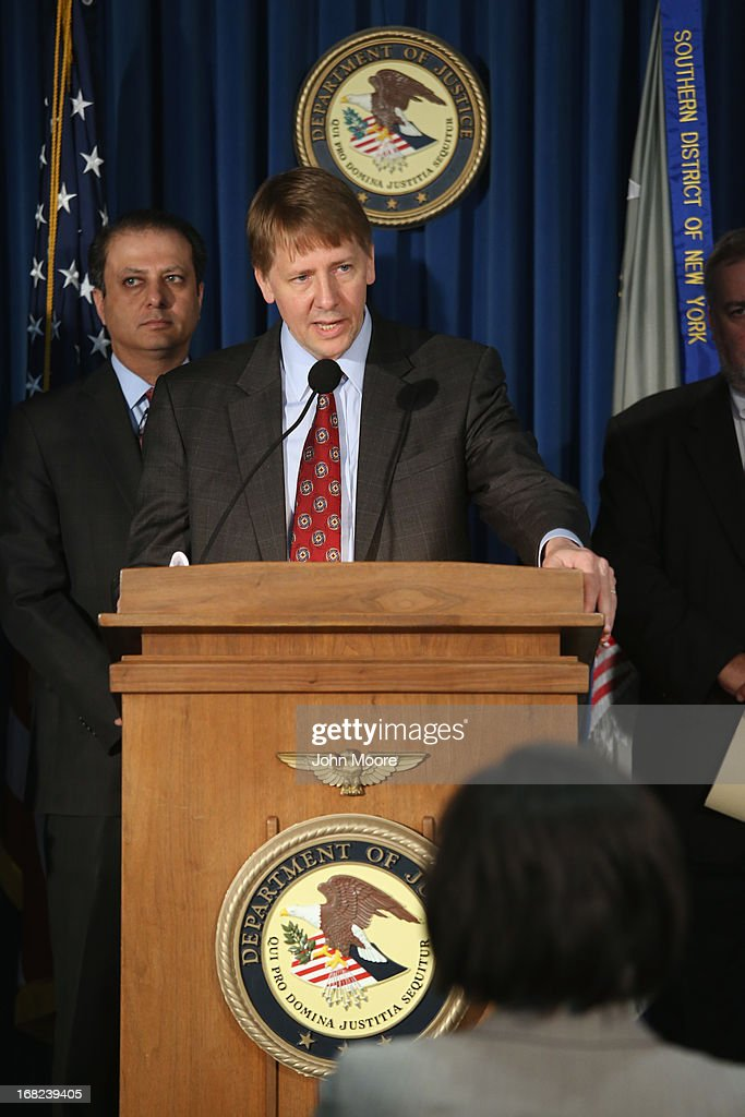 Director of the Consumer Financial Protection Bureau <a gi-track='captionPersonalityLinkClicked' href=/galleries/search?phrase=Richard+Cordray&family=editorial&specificpeople=7979683 ng-click='$event.stopPropagation()'>Richard Cordray</a> addresses the media on May 7, 2013 in New York City. He and federal prosecuters announced an indictment charging leaders of the Mission Settlement Agency with mail and wire fraud in a scheme that allegedly victimized 1,200 debters in a multi-million dollar scheme. The case was the first referral from the new Consumer Financial Protection Bureau.