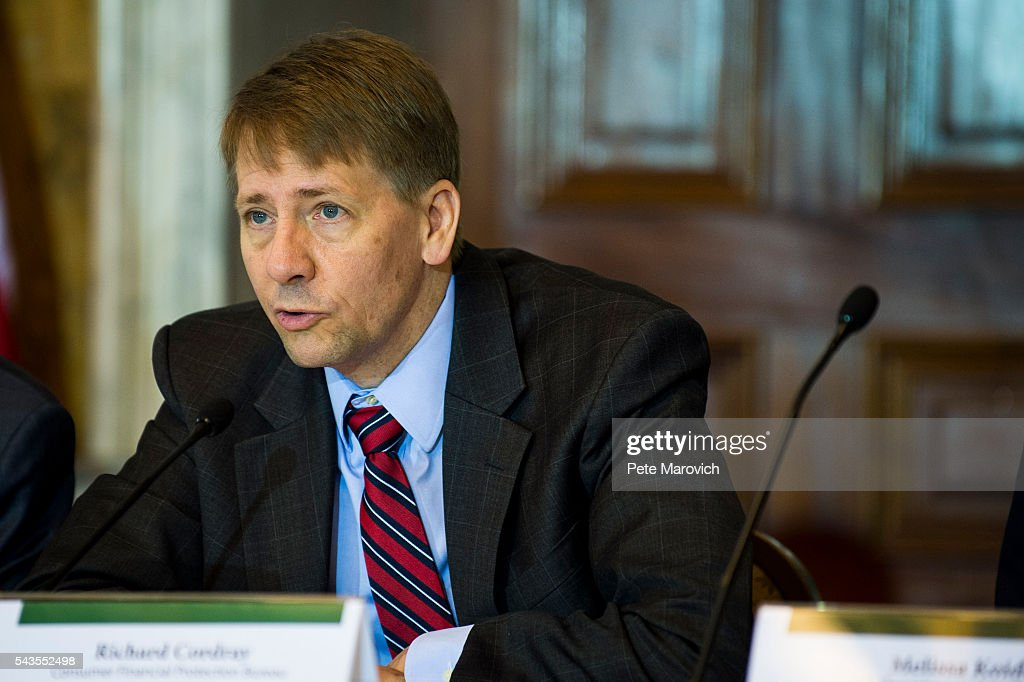 Director of the Consumer Financial Protection Bureau, <a gi-track='captionPersonalityLinkClicked' href=/galleries/search?phrase=Richard+Cordray&family=editorial&specificpeople=7979683 ng-click='$event.stopPropagation()'>Richard Cordray</a>, delivers remarks during a public meeting of the Financial Literacy and Education Commission at the United States Treasury on June 29, 2016 in Washington, DC. The agenda focused on financial education and investment advice, as well as the intersection of financial education and legal aid.