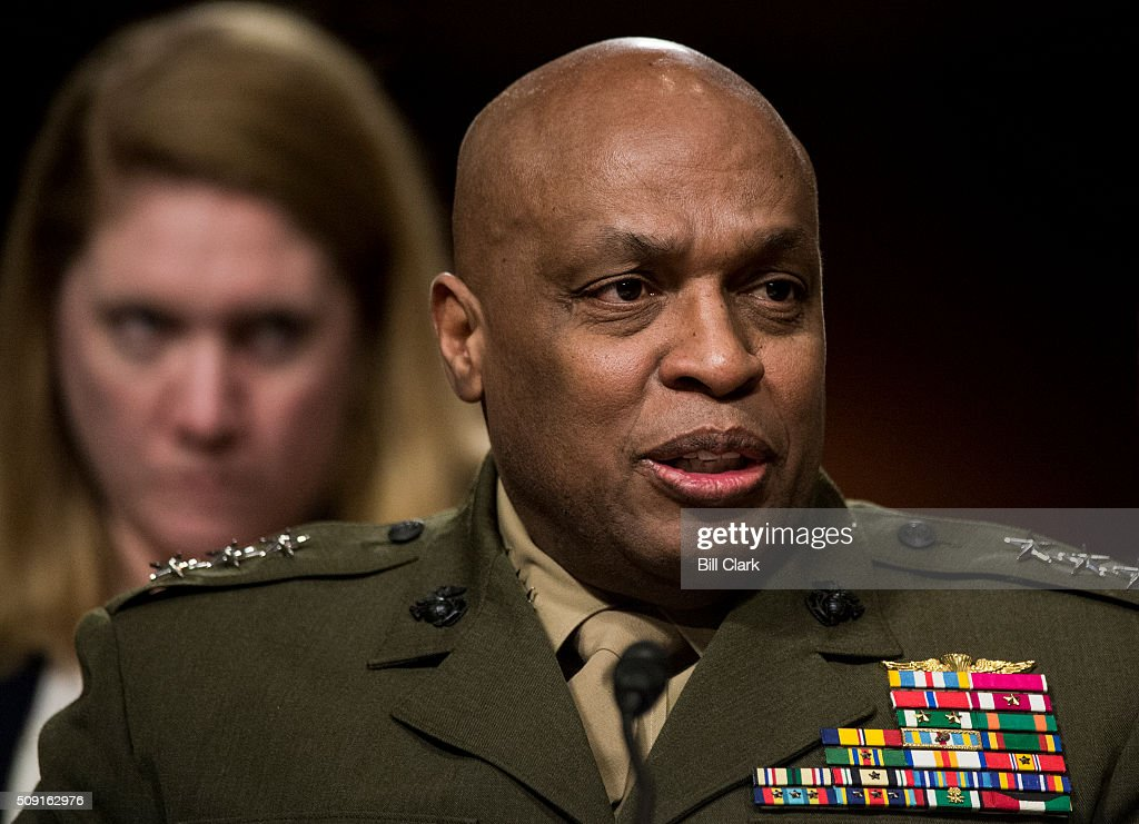 Director of the Defense Intelligence Agency Lt. Gen. Vincent Stewart, USMC, testifies during the Senate Armed Services Committee hearing on 'Worldwide Threats' on Tuesday, Feb. 9, 2016.