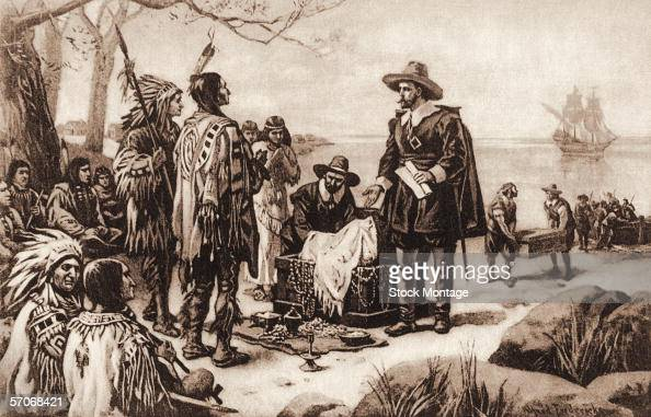 Director of the Dutch colony of New Netherland Peter Minuit offers a group of Native Americans a variety of good from a chest in exchange for...