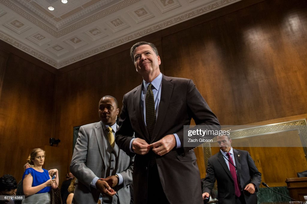 Director of the Federal Bureau of Investigation, James Comey leaves after testifying in front of the Senate Judiciary Committee during an oversight hearing on the FBI on Capitol Hill May 3, 2017 in Washington, DC. Comey is expected to answer questions about Russian involvement into the 2016 presidential election.