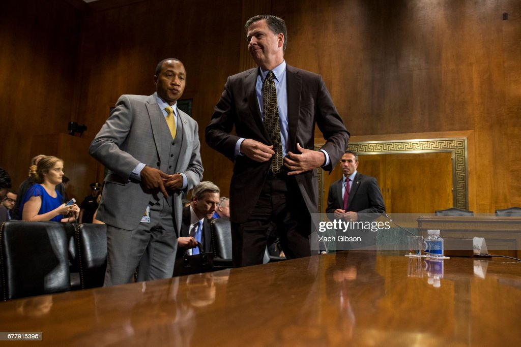 Director of the Federal Bureau of Investigation, James Comey leaves after testifying in front of the Senate Judiciary Committee during an oversight hearing on the FBI on Capitol Hill May 3, 2017 in Washington, DC. Comey answered questions about Russian involvement into the 2016 presidential election.