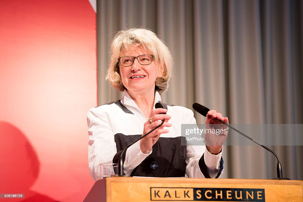 Director of the Federal Centre for Health Education Heidrun Thaiss speaks during the launch of a new sensibilisation campaign for prevention from HIV and STDs at the Kalkscheune in Berlin, Germany on May 4, 2016. The campaign is presented from the Federal Centre for Health Education with the new motto 'liebesleben'.
