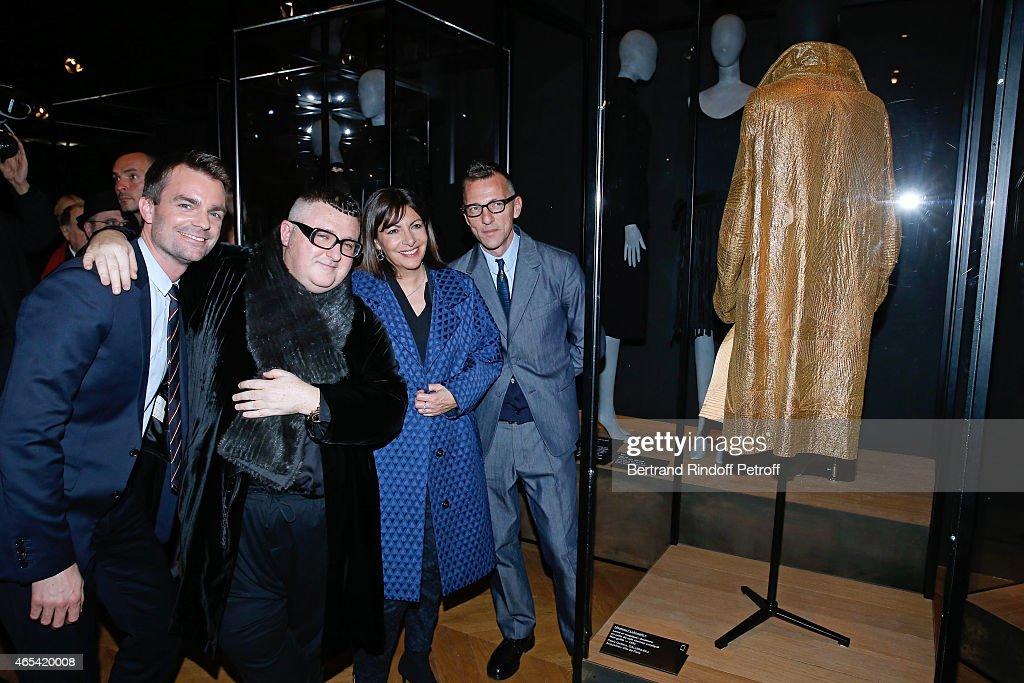 Director of the Galliera Museum Olivier Saillard Mayor of Paris Anne Hidalgo Fashion Designer Alber Elbaz and First Deputy Mayor of Paris responsible...