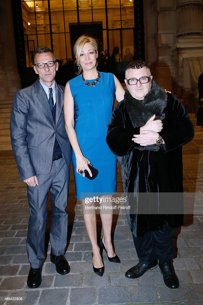 Director of the Galliera Museum Olivier Saillard, Sponsor of the Exhibition <a gi-track='captionPersonalityLinkClicked' href=/galleries/search?phrase=Nadja+Swarovski&family=editorial&specificpeople=653118 ng-click='$event.stopPropagation()'>Nadja Swarovski</a> and Fashion Designer <a gi-track='captionPersonalityLinkClicked' href=/galleries/search?phrase=Alber+Elbaz&family=editorial&specificpeople=783481 ng-click='$event.stopPropagation()'>Alber Elbaz</a> attend the Jeanne Lanvin Retrospective : Opening Ceremony at Palais Galliera on March 6, 2015 in Paris, France.