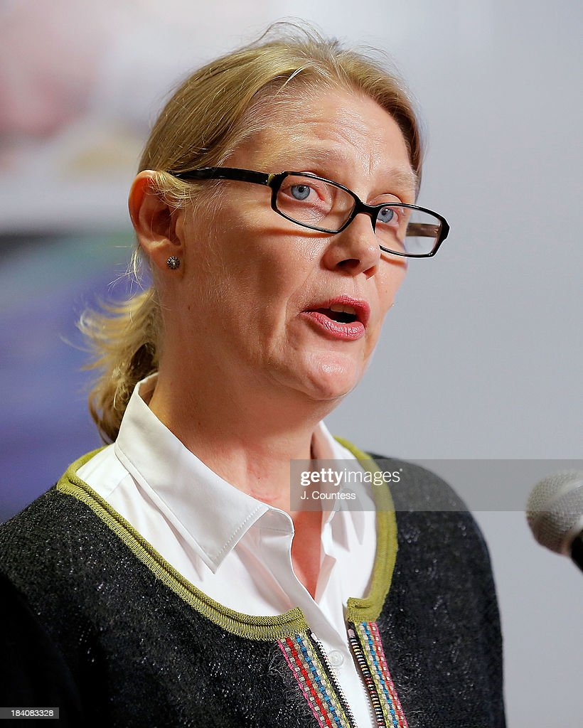 Director of the Global Education First Initiative Vibeke Jensen speaks during the 'Day Of The Girl' program and Fresco Unveiling With Freida Pinto at UNICEF House on October 11, 2013 in New York City.