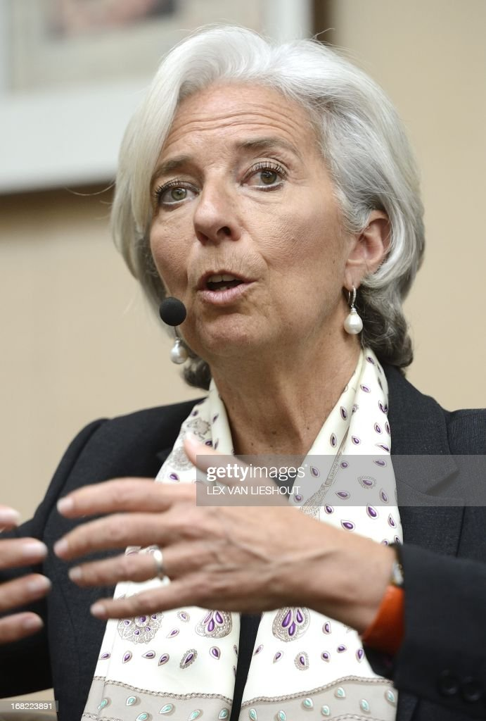Director of the International Monetary Fund (IMF) Christine Lagarde gives a lecture during the 'Room for Discussion' forum in Amsterdam, on May 7, 2013. Room for Discussion is a weekly interview program by and for students of the Faculty Economics and Business administration of the University of Amsterdam.