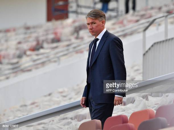 Director of the Local Organising Committee for the 2018 FIFA World Cup in Russia Alexey Sorokin arrives to attend the FIFA World Cup Trophy Tour...