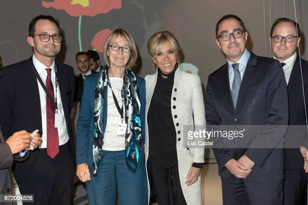 Director of the Louvre Abu Dhabi Manuel Rabate French Minister of Culture Francoise Nyssen Brigitte Macron and Chief Executive of the Louvre JeanLuc...