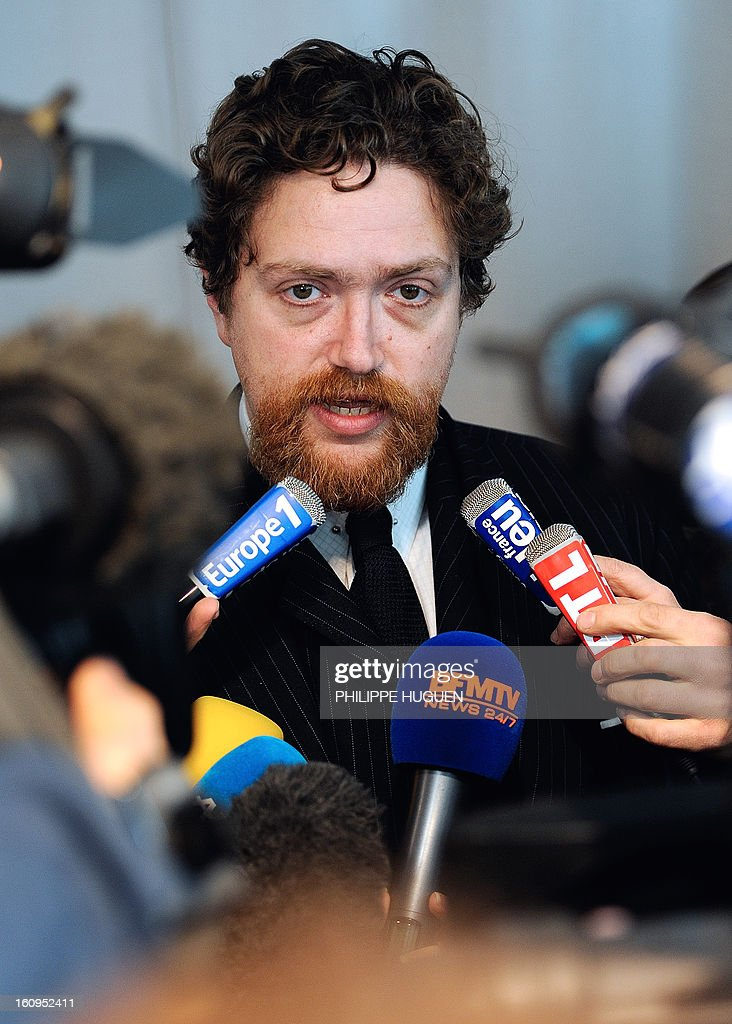 Director of the Louvre-Lens Museum, Xavier Dectot, speaks to journalists on February 8, 2013 in the French northern city of Lens, after a woman vandalized on the eve the Eugene Delacroix masterpiece 'La Liberté guidant le Peuple' (Liberty leading the people, by writing on it 'AE911' with a black permanent marker on the painting.