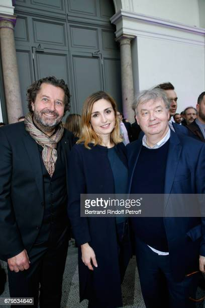 Director of the Luxembourg CNC Guy Daleiden actress Julie Gayet and Dominique Besnehard attend the 'Revelations' Fair at Balcon d'Honneur du Grand...