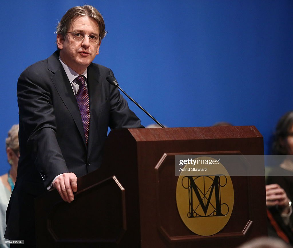 Director of The Metropolitan Museum of Art, Thomas P. Campbell, speaks during the Fifth Avenue Plaza Groundbreaking at the Metropolitan Museum of Art on January 14, 2013 in New York City.