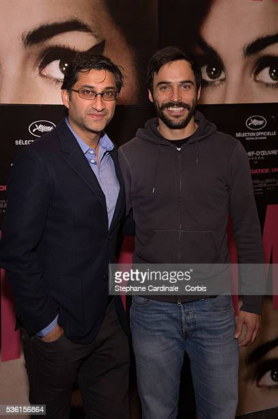 Director of the movie Asif Kapadia and Actor of his next movie 'Ali and Nino' Assaad Bouab attend the 'Amy' Paris Premiere at Cinema Max Linder on...