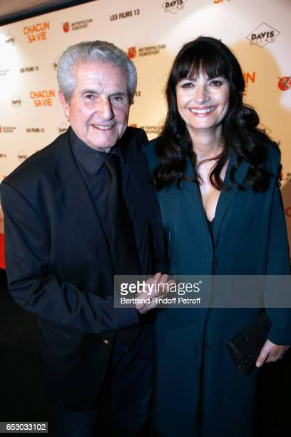 Director of the movie Claude Lelouch and Valerie Perrin attend the 'Chacun sa vie' Paris Premiere at Cinema UGC Normandie on March 13 2017 in Paris...