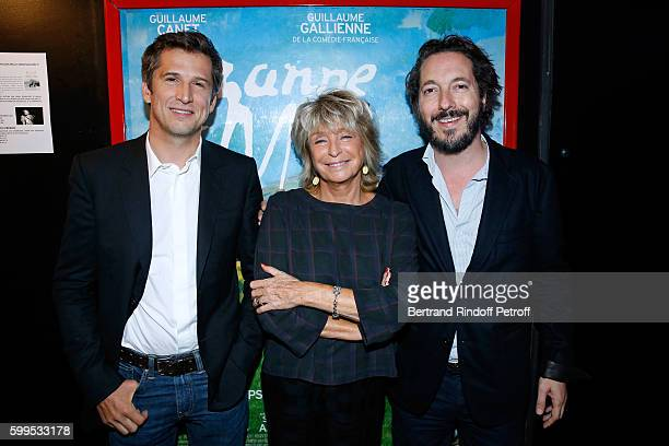 Director of the movie Daniele Thompson standing between actors of the movie Guillaume Canet and Guillaume Gallienne attend the 'Cezanne et Moi'...
