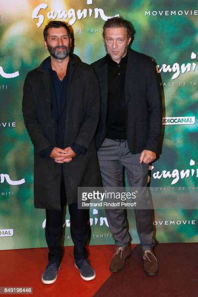 Director of the movie Edouard Deluc and actor of the movie Vincent Cassel attend the 'Gauguin Voyage de Tahiti' Paris Premiere at Cinema Gaumont...