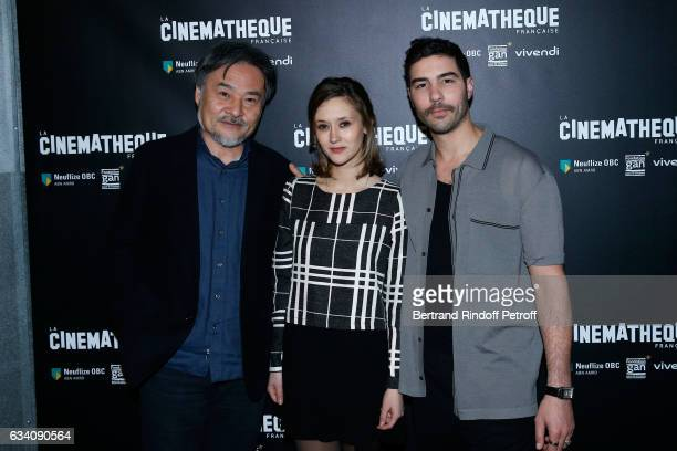 Director of the movie Kiyoshi Kurosawa actors of the movie Constance Rousseau and Tahar Rahim attend the 'Le secret de la chambre noire' Paris...