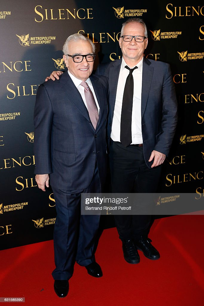 Director of the movie Martin Scorsese and General Delegate of the Cannes Film Festival Thierry Fremaux present the 'Silence' Paris Premiere at Musee National Des Arts Asiatiques - Guimet on January 12, 2017 in Paris, France.