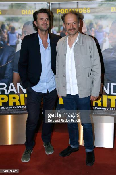 Director of the movie Olivier AyacheVidal and actor of the movie Denis Podalydes attend the 'Les grands Esprits' Paris Premiere at UGC Cine Cite des...