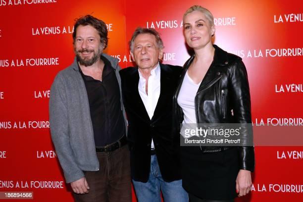 Director of the movie Roman Polanski stands between actors of the movie Mathieu Amalric and Emmanuelle Seigner attend 'La Venus a La Fourrure Venus...