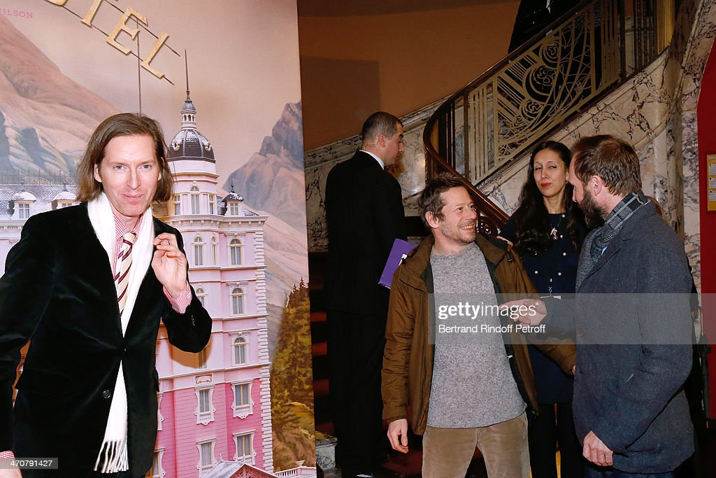 Director of the movie Wes Anderson, actors Mathieu Amalric and Ralph Fiennes attend 'The Grand Budapest Hotel' Paris Premiere at Cinema Gaumont Opera Capucines on February 20, 2014 in Paris, France.