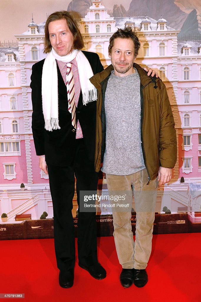 Director of the movie Wes Anderson and actor Mathieu Amalric attend 'The Grand Budapest Hotel' Paris Premiere at Cinema Gaumont Opera Capucines on February 20, 2014 in Paris, France.