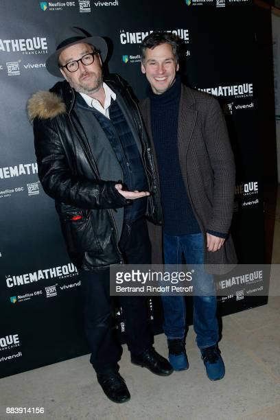Director of the movie Xavier Beauvois and Actor of the movie Nicolas Giraud attend the 'Les Gardiennes' Paris Premiere at la cinematheque on December...