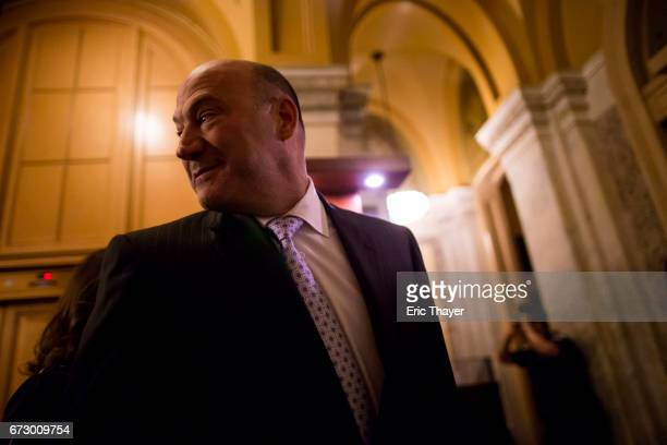 Director of the National Economic Council Gary Cohn departs a closed meeting with Congressional leaders to discuss tax reform on April 25 2017 in...