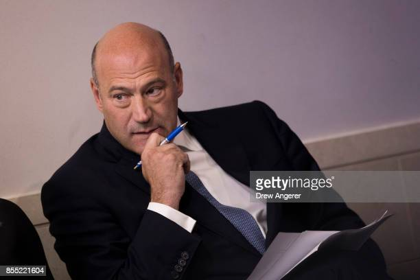 Director of the National Economic Council Gary Cohn waits to speak during the daily news briefing at the James Brady Press Briefing Room of the White...