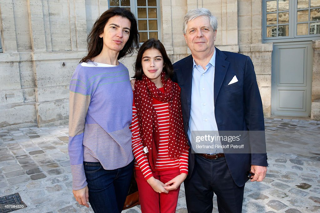 Director of the National Opera Stephane Lissner and his wife Valentina and her daughter daughter Armelle Maranghi attend the 'Picasso National Museum - Paris' : Reopening party on October 19, 2014 in Paris, France.