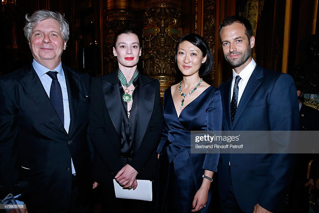 Director of the National Opera Stephane Lissner, Star Dancer <a gi-track='captionPersonalityLinkClicked' href=/galleries/search?phrase=Aurelie+Dupont&family=editorial&specificpeople=2903830 ng-click='$event.stopPropagation()'>Aurelie Dupont</a>, French minister of Culture and Communication <a gi-track='captionPersonalityLinkClicked' href=/galleries/search?phrase=Fleur+Pellerin&family=editorial&specificpeople=8784076 ng-click='$event.stopPropagation()'>Fleur Pellerin</a> and Paris National Opera dance director <a gi-track='captionPersonalityLinkClicked' href=/galleries/search?phrase=Benjamin+Millepied&family=editorial&specificpeople=6539957 ng-click='$event.stopPropagation()'>Benjamin Millepied</a> attend Star Dancer <a gi-track='captionPersonalityLinkClicked' href=/galleries/search?phrase=Aurelie+Dupont&family=editorial&specificpeople=2903830 ng-click='$event.stopPropagation()'>Aurelie Dupont</a> receives the medal of Commander of Arts and Letters after she said goodbye to the Paris Opera performing in 'L'histoire de Manon' at Opera Garnier on May 18, 2015 in Paris, France.