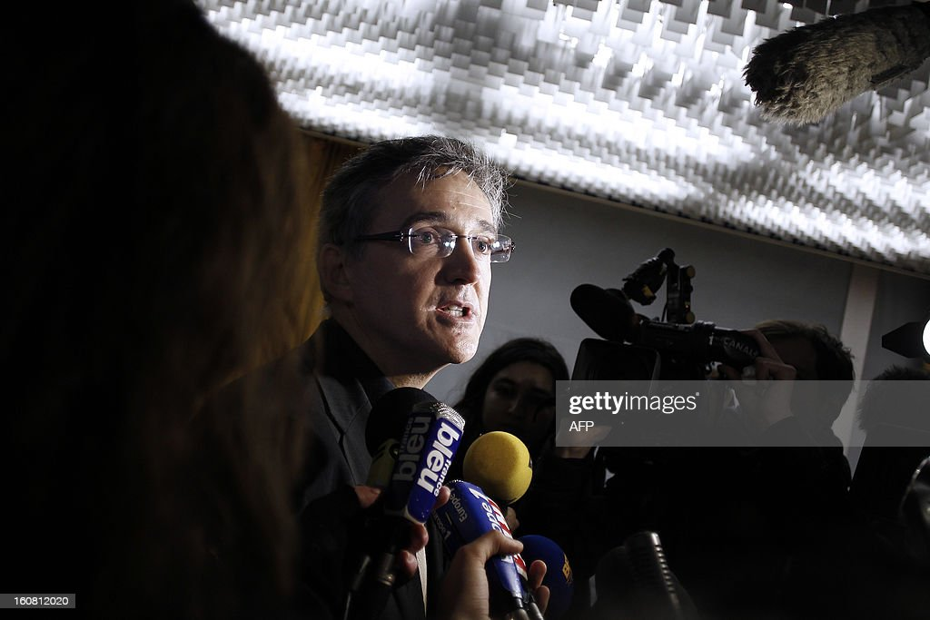 Director of the Petroplus oil refinery, Philippe Billand, speaks on February 6, 2013 to journalists after Petroplus' direction and the court administrators announced that none of the five offers filed the day before were admissible for the recovery of the Petroplus oil refinery in Petit-Couronne, northwestern France.
