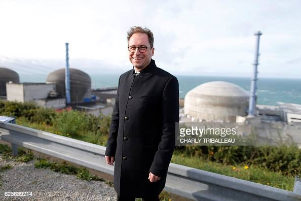 Director of the Project Flamanville 3 Laurent Thieffry poses for a photograph above the European Pressurised Reactor project in Flamanville...