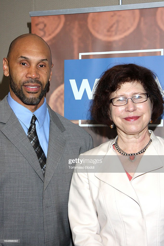 Director of the Ralph J. Bunche Center for African American Studies at UCLA and professor of sociology Dr. Darnell Hunt (L) and WGAW Director of Diversity Kimberly Myers attend the WGAW's 2013 TV Staffing Brief Press Conference held at Writers Guild of America, West on March 26, 2013 in Los Angeles, California.