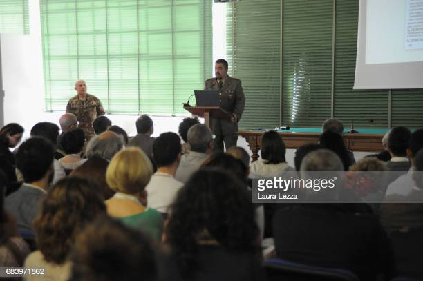 Director of the Stabilimento Chimico Farmaceutico Militare Colomnel Antonio Medica speaks to the public during the first Open Day on May 16 2017 in...