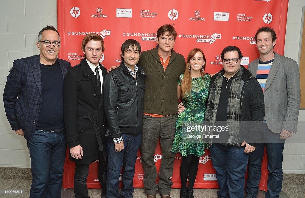 Director of the Sundance Film Festival John Cooper, actors Eddie Hassell, director Joshua Michael Stern, actors Ashton Kutcher, Ahna O'Reilly Josh Gad and Sundance Film Festival Director of Programming Trevor Groth attend the 'jOBS' Premiere during the 2013 Sundance Film Festival at Eccles Center Theatre on January 25, 2013 in Park City, Utah.