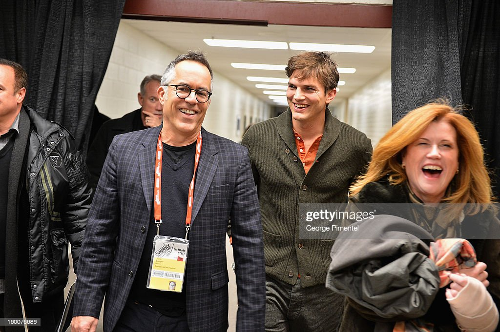 Director of the Sundance Film Festival John Cooper and actor <a gi-track='captionPersonalityLinkClicked' href=/galleries/search?phrase=Ashton+Kutcher&family=editorial&specificpeople=202015 ng-click='$event.stopPropagation()'>Ashton Kutcher</a> attend the 'jOBS' Premiere during the 2013 Sundance Film Festival at Eccles Center Theatre on January 25, 2013 in Park City, Utah.