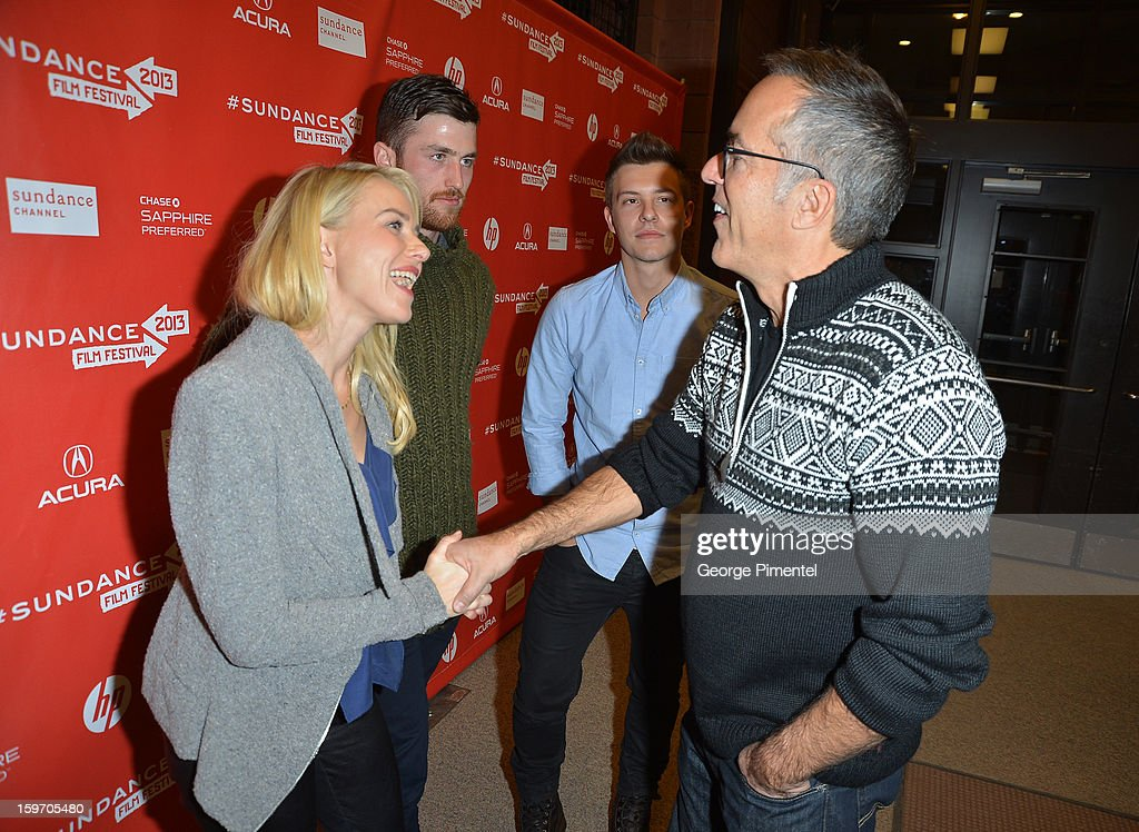 Director of the Sundance Film Festival John Cooper (R) and actors <a gi-track='captionPersonalityLinkClicked' href=/galleries/search?phrase=James+Frecheville&family=editorial&specificpeople=6702732 ng-click='$event.stopPropagation()'>James Frecheville</a>, <a gi-track='captionPersonalityLinkClicked' href=/galleries/search?phrase=Naomi+Watts&family=editorial&specificpeople=171723 ng-click='$event.stopPropagation()'>Naomi Watts</a> and <a gi-track='captionPersonalityLinkClicked' href=/galleries/search?phrase=Xavier+Samuel&family=editorial&specificpeople=5294127 ng-click='$event.stopPropagation()'>Xavier Samuel</a> attend the 'Two Mothers' Premiere during the 2013 Sundance Film Festival at Eccles Center Theatre on January 18, 2013 in Park City, Utah.