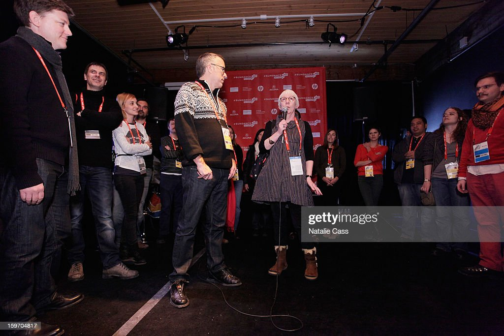 Director of the Sundance Film Festival John Cooper (L) and director Anna Cady speak onstage during the Welcome Brunch at New Frontier on January 18, 2013 in Park City, Utah.