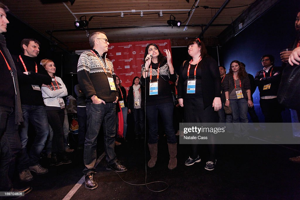 Director of the Sundance Film Festival John Cooper (L) and director Habiba Nosheen (C) speak onstage during the Welcome Brunch at New Frontier on January 18, 2013 in Park City, Utah.