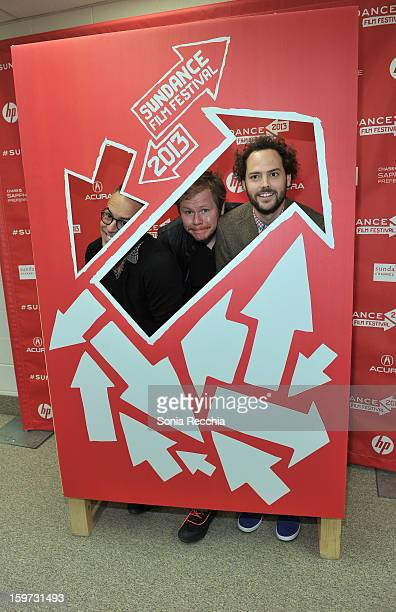 Director of the Sundance Film Festival John Cooper screenwriter Ben York Jones and filmmaker Drake Doremus attend the 'Breathe In' premiere at Eccles...