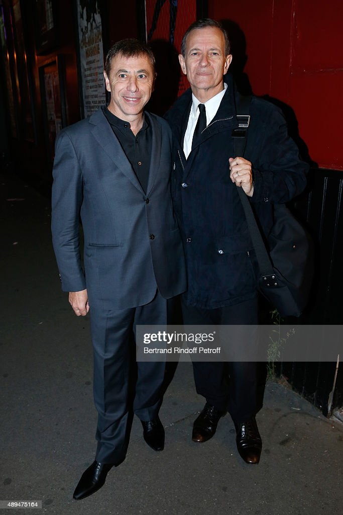 Director of the Theater Louis-Michel Colla and actor Francis Huster attend the 'Trophees du Bien-Etre' by Beautysane : First Award Ceremony to Benefit 'Mimi Ullens Foundation'. Held at Theatre de la Gaite-Montparnasse on September 21, 2015 in Paris, France.