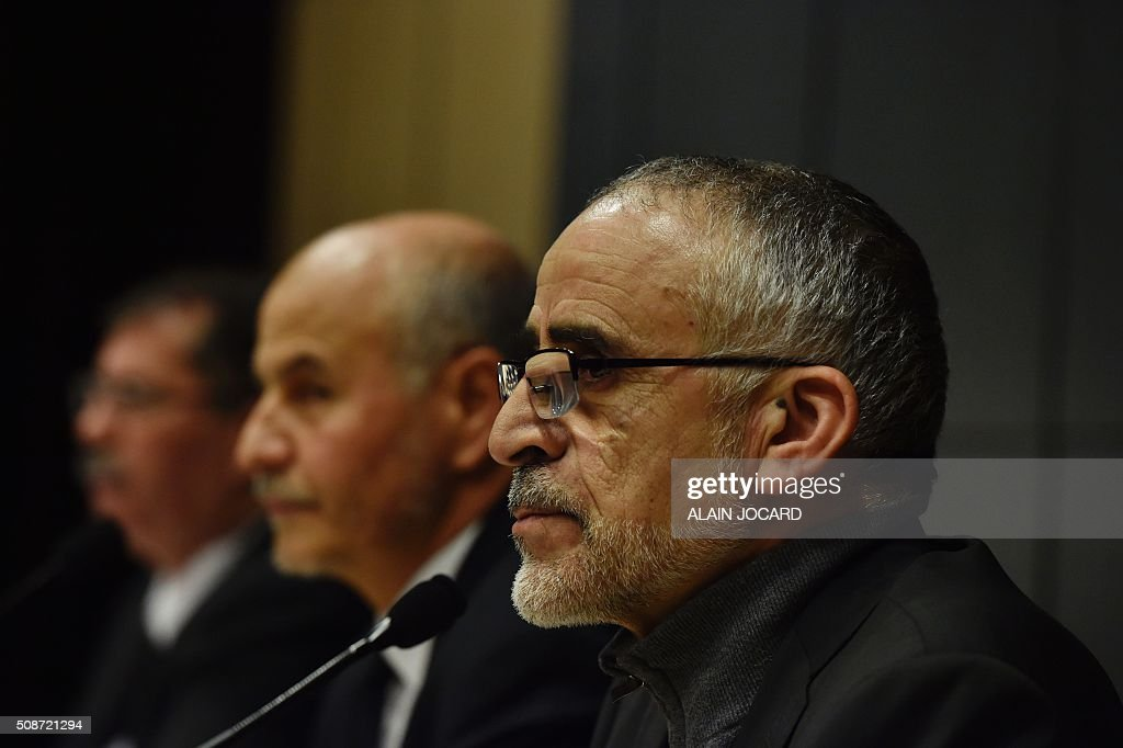 Director of the theology institute of the Great Mosque of Paris Djelloul Seddiki, talks as part of the nion of Islamic Organisations of France (UOIF) symposium, on February, 6, 2016, in Paris. / AFP / ALAIN JOCARD