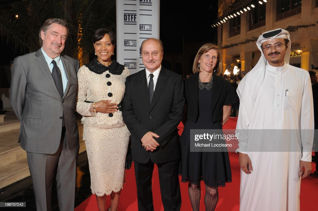 Director of the Tribeca Film Festival <a gi-track='captionPersonalityLinkClicked' href=/galleries/search?phrase=Geoffrey+Gilmore&family=editorial&specificpeople=791914 ng-click='$event.stopPropagation()'>Geoffrey Gilmore</a>, <a gi-track='captionPersonalityLinkClicked' href=/galleries/search?phrase=Grace+Hightower&family=editorial&specificpeople=211382 ng-click='$event.stopPropagation()'>Grace Hightower</a>, Actor <a gi-track='captionPersonalityLinkClicked' href=/galleries/search?phrase=Anupam+Kher&family=editorial&specificpeople=767439 ng-click='$event.stopPropagation()'>Anupam Kher</a>, Sr. V.P., Studio Relations & Special Project TFF Patty Newburger and Doha Film Institute CEO Abdulaziz Bin Khalid Al-Khater attend the 'Silver Linings Playbook' premiere at the Al Mirqab Hotel during the 2012 Doha Tribeca Film Festival on November 19, 2012 in Doha, Qatar.