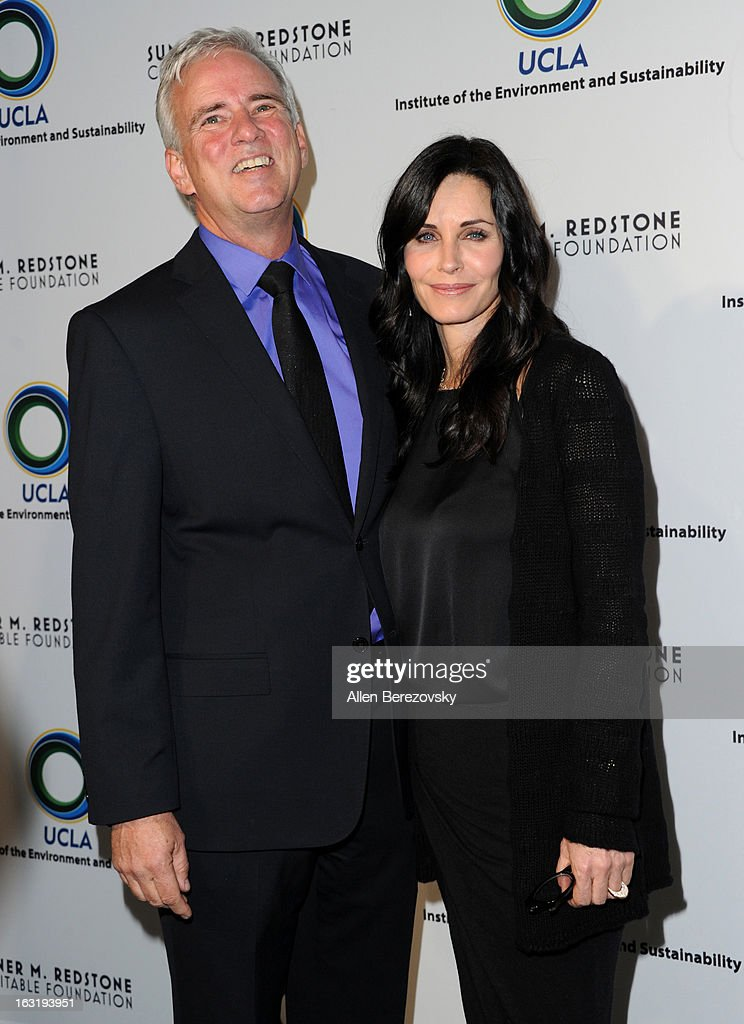 Director of the UCLA Institute Of The Environment And Sustainability Glen McDonald and actress <a gi-track='captionPersonalityLinkClicked' href=/galleries/search?phrase=Courteney+Cox&family=editorial&specificpeople=203101 ng-click='$event.stopPropagation()'>Courteney Cox</a> attends UCLA Institute Of The Environment And Sustainability's 2nd Annual 'An Evening Of Environmental Excellence' - Arrivals on March 5, 2013 in Beverly Hills, California.